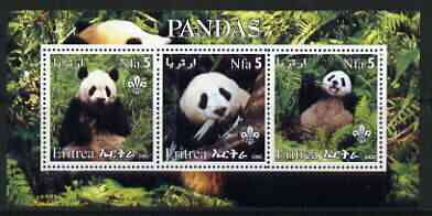 Eritrea 2002 Pandas #1 perf sheetlet containing set of 3 values each with Scouts Logo unmounted mint