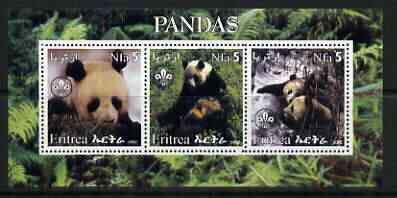 Eritrea 2002 Pandas #2 perf sheetlet containing set of 3 values each with Scouts Logo unmounted mint