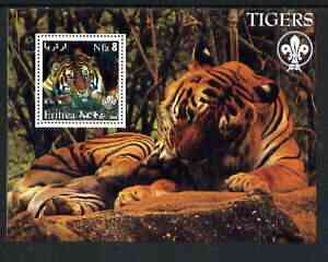 Eritrea 2002 Tigers perf m/sheet with Scouts Logo unmounted mint