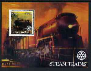 Eritrea 2002 Steam Locos #01 perf m/sheet with Rotary Logo unmounted mint