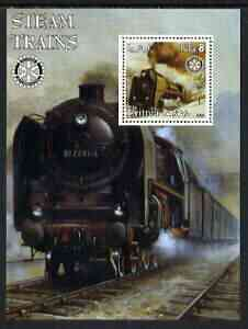 Eritrea 2002 Steam Locos #02 perf m/sheet with Rotary Logo unmounted mint