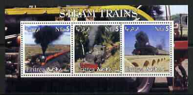 Eritrea 2002 Steam Locos #04 perf sheetlet containing set of 3 values each with Rotary Logo unmounted mint