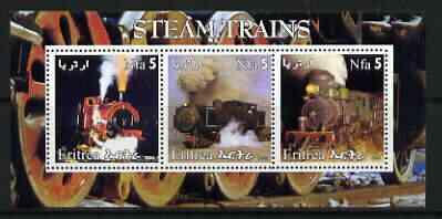 Eritrea 2002 Steam Locos #05 perf sheetlet containing set of 3 values each with Rotary Logo unmounted mint