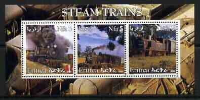 Eritrea 2002 Steam Locos #06 perf sheetlet containing set of 3 values each with Rotary Logo unmounted mint