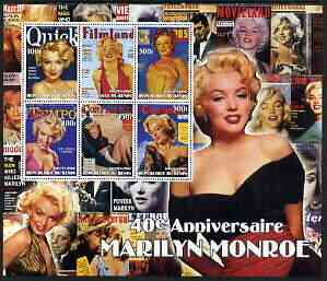 Benin 2002 40th Death Anniversary of Marilyn Monroe #01 special large perf sheet containing 6 values unmounted mint