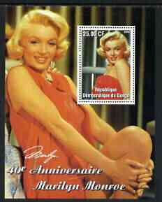 Congo 2002 40th Death Anniversary of Marilyn Monroe #06 perf m/sheet unmounted mint