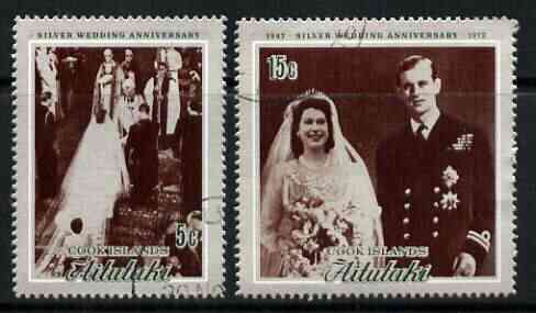 Cook Islands - Aitutaki 1972 Royal Silver Wedding perf set of 2 fine cds used, SG 46-47*