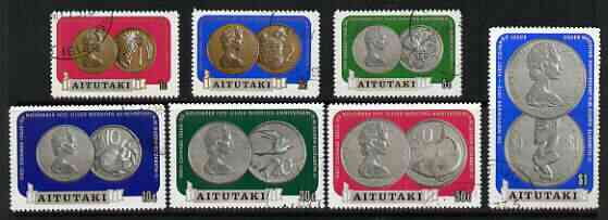 Cook Islands - Aitutaki 1973 Royal Silver Wedding Coinage perf set of 7 fine cds used, SG 71-77