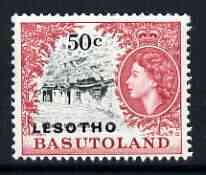 Lesotho 1966 Mission Cave House 50c (wmk Block CA) unmounted mint, SG 119B*