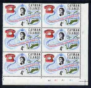 Cayman Islands 1966 International Telephone Links 4d unmounted mint plate block of 6 including R11/5 flaw by second 's' of 'Islands', Shelly V41 (SG 198var)