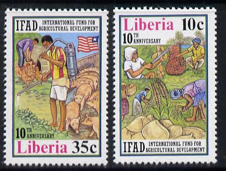 Liberia 1986 Agricultural Development Fund set of 2 unmounted mint, SG 1706-07