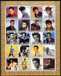 Benin 2003 Elvis Presley perf sheetlet containing set of 20 values unmounted mint, stamps on personalities, stamps on elvis, stamps on music, stamps on films, stamps on entertainments, stamps on pops, stamps on motorbikes