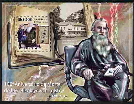 St Thomas & Prince Islands 2010 100th Anniversary of Death of Leo Tolstoy perf s/sheet unmounted mint