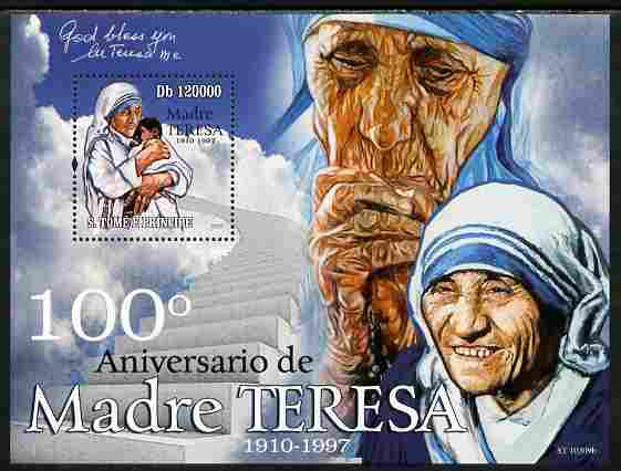 St Thomas & Prince Islands 2010 100th Anniversary of Birth of Mother Teresa perf s/sheet unmounted mint