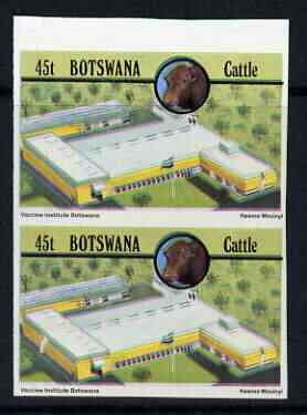 Botswana 1981 Vaccine Institute 45t (from Cattle Industry set) in unmounted mint imperf pair (also shows slight misplacement of colours) SG 502var, stamps on animals, stamps on food, stamps on vets