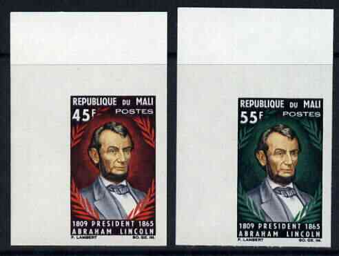 Mali 1965 Death Centenary of Abraham Lincoln set of 2 imperf from limited printing, unmounted mint, SG 103-4var