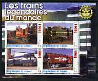 Guinea - Conakry 2003 Legendary Trains of the World #11 perf sheetlet containing 4 values with Rotary Logo, unmounted mint