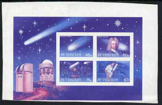 St Vincent 1986 Halley's Comet m/sheet imperf proof in magenta & blue colours only unmounted mint, as SG MS 977
