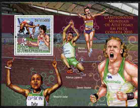 St Thomas & Prince Islands 2010 World Indoor Athletics perf s/sheet unmounted mint