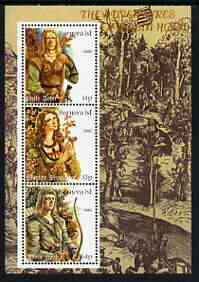 Bernera 2000 The Adventures of Robin Hood #1 perf sheetlet containing 3 values unmounted mint (Shows Little John, Marion & Robin)