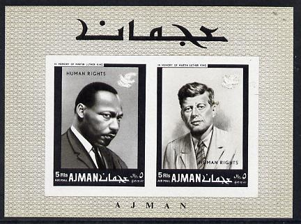 Ajman 1968 Human Rights (Kennedy & Martin Luther King) imperf m/sheet (Mi BL 44B) unmounted mint
