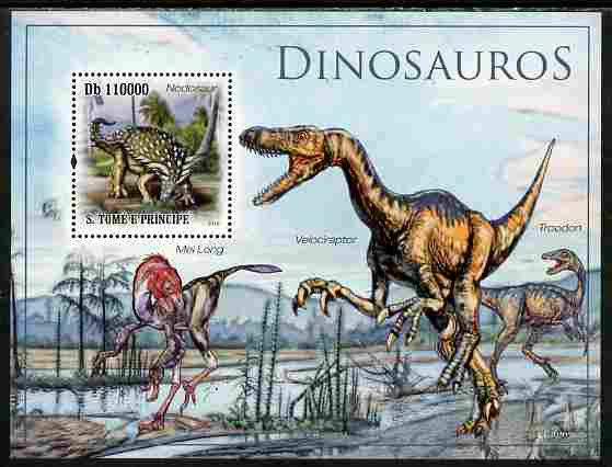 St Thomas & Prince Islands 2010 Dinosaurs perf s/sheet unmounted mint