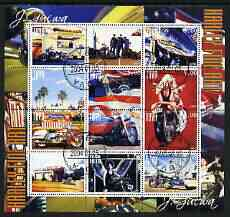 Touva 2004 Motorcycles - Harley Fine Art perf sheetlet #1 containing set of 12 values fine cto used