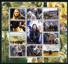 Karelia Republic 2004 Lord of the Rings - Two Towers #2 perf sheetlet containing 12 values fine cto used, stamps on films, stamps on movies, stamps on literature, stamps on fantasy, stamps on entertainments, stamps on