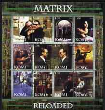 Komi Republic 2004 Matrix Reloaded #1 perf sheetlet containing set of 12 values fine cto used