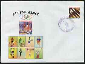 Pakistan 2004 commem cover for Pakistan Games with special illustrated cancellation for Fifth Cricket test - Pakistan v India (cover shows Football, Tennis, Running, Skate-boarding, Skiing, weights & Golf), stamps on sport, stamps on cricket, stamps on football, stamps on tennis, stamps on running, stamps on skate boards, stamps on skiing, stamps on weightlifting, stamps on golf