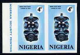 Nigeria 1971 Antiquities of Nigeria 4d Face Mask imperf pair unmounted mint SG 260var