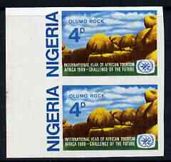 Nigeria 1969 International Year of African Tourism 4d Olumo Rock imperf pair unmounted mint SG 237var