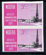 Nigeria 1971 Opening of Earth Satellite Station 3s Mast & Dish unmounted mint imperf pair, as SG 269
