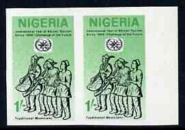 Nigeria 1969 International Year of African Tourism 1s Traditional Musicians imperf pair unmounted mint SG 238var