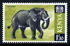 Kenya 1966 Elephant 1s3d (from Animal def set) unmounted mint, SG 30*