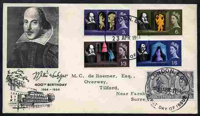 Great Britain 1964 Shakespeare Festival set of 5 (ordinary) on illustrated cover with first day cancels SG 646-508
