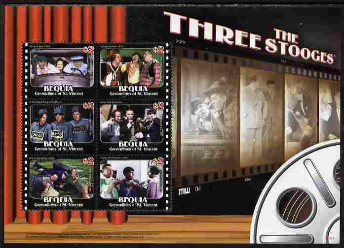 St Vincent - Bequia 2009 The Three Stooges perf sheetlet containing 4 values unmounted mint