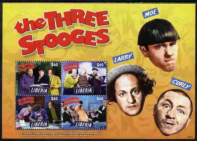 Liberia 2009 The Three Stooges perf sheetlet containing 4 values unmounted mint