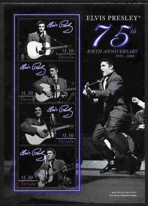 Tuvalu 2010 75th Birthday of Elvis Presley perf sheetlet containing 4 values unmounted mint