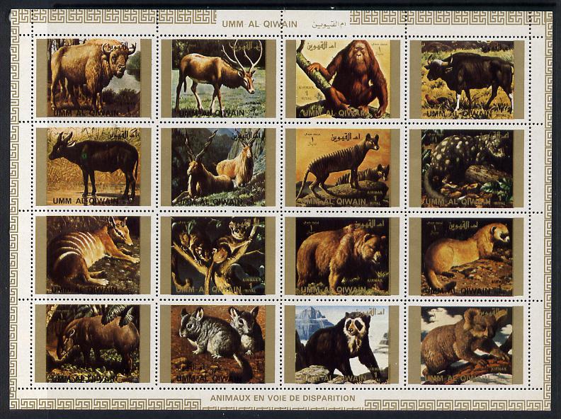 Umm Al Qiwain 1972 Animals #3 sheetlet containing 16 values (Endangered Species) unmounted mint Mi 1530-45