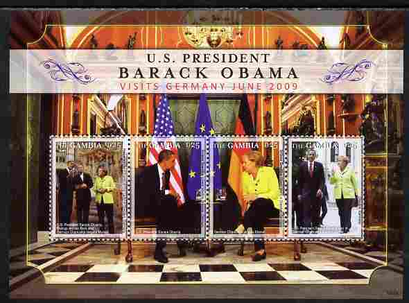 Gambia 2009 Barack Obama visits Germany perf sheetlet containing 4 values unmounted mint