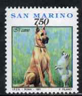 San Marino 1991 Great Dane & Pomeranian (from Pets set) unmounted mint, SG 1405