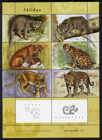 Argentine Republic 2001 Wild Cats perf sheetlet containing 6 values unmounted mint, SG2841-46