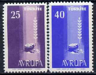 Turkey 1958 Europa set of 2 unmounted mint, SG 1834-35*