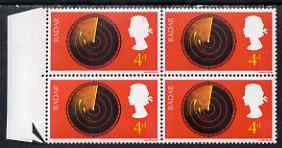 Great Britain 1967 British Discovery & Invention 4d radar positional marginal block of 4 incl R10/2 variety 'broken radar scales' SG 752var unmounted mint