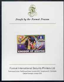Lesotho 1984 Los Angeles Olympic Games 75s (Basketball) imperf proof mounted on Format International proof card