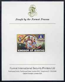 Lesotho 1984 Los Angeles Olympic Games 1m (Running) imperf proof mounted on Format International proof card