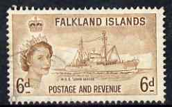Falkland Islands 1955 John Biscoe Research Ship 6d fine used, SG 190