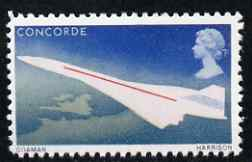 Great Britain 1969 First Flight of Concorde 4d with violet (value) omitted,  'Maryland' perf forgery 'unused', as SG 784a - the word Forgery is either handstamped or printed on the back and comes on a presentation card with descriptive notes