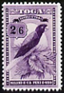 Tonga 1897 Red-Shining Parrot 2s6d  'Maryland' perf 'unused' forgery, as SG 52 - the word Forgery is either handstamped or printed on the back and comes on a presentation card with descriptive notes